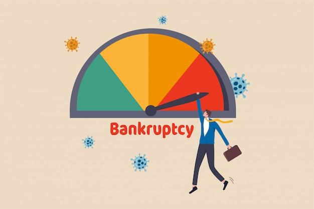 Unternehmensinsolvenz aufgrund der coronavirus-wirtschaftskrise, covid-19-pandemie, die schulden und finanzielle probleme verursacht, geschäftsmann-firmeninhaber, der die maximale schuldenalarm-insolvenz-kreditanzeige hält.