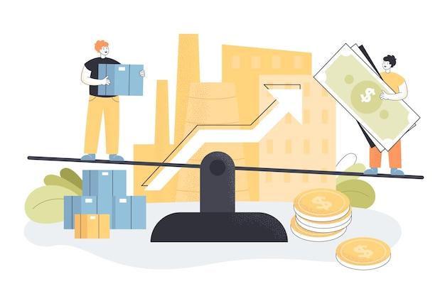 Unternehmensinvestoren balancieren auf skalen, erzielen gewinnwachstum
