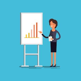 Unternehmenskonzept. karikaturgeschäftsfrau, die präsentation erklärt diagramme auf einem weißen brett macht. flaches design, vektorillustration.