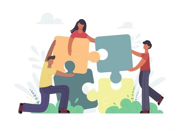 Unternehmenskonzept. menschen, die puzzle-elemente verbinden. symbol für teamarbeit, partnerschaft, zusammenarbeit. auf weißem hintergrund in trendfarbe isolieren.