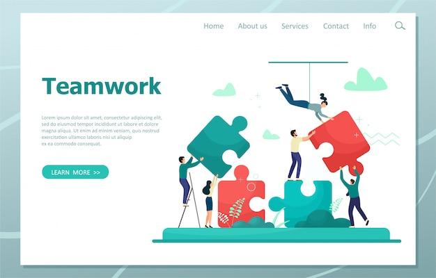 Unternehmenskonzept. team metapher. menschen, die puzzle-elemente verbinden. illustration flacher designstil. teamwork, kooperation, partnerschaft. team von männern und frauen bauen ein puzzle. landing page