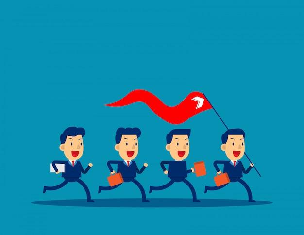 Unternehmensleiter, der rote fahne hält