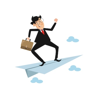 Unternehmensleiter fliegt schnell zu seinem erfolg