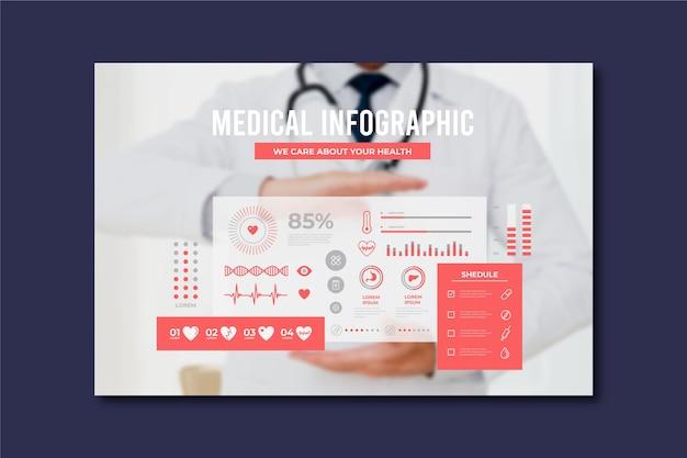 Unternehmensmedizinisches infographic mit foto