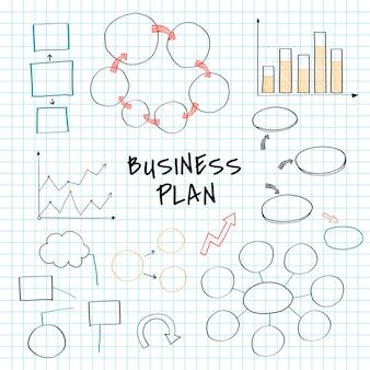 Unternehmensplan eingestellt mit diagramm- und diagrammvektor