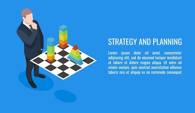 Unternehmensplan, entwicklungsstrategie des geschäfts, geschäftsmann, der schach spielt