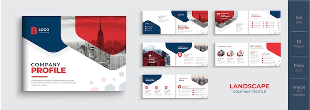 Unternehmensprofil-broschürendesign im querformat oder broschürenvorlage in roter farbe