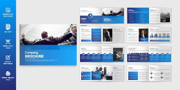 Unternehmensprofil-broschürendesign im querformat oder mehrseitiges broschüren-vorlagendesign