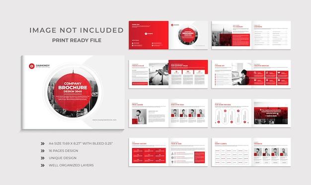 Unternehmensprofil-broschürenvorlage oder mehrseitiges broschürendesign im querformat