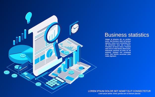 Unternehmensstatistik, isometrische konzeptdarstellung des finanzberichts