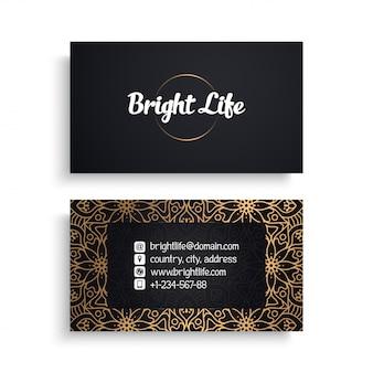 Unternehmensvisitenkarteschablone mit ethnischem luxusdesign, boho-art