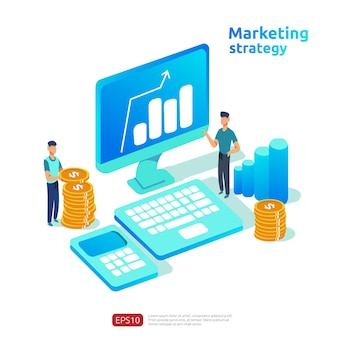 Unternehmenswachstum und return on investment roi. konzept der digitalen marketingstrategie mit tabelle, grafischem objekt auf dem computerbildschirm. diagramm gewinn erhöhen. banner im flachen stil vektor-illustration