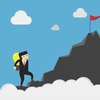 Unternehmer bringen die idee zum ziel des unternehmens