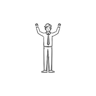 Unternehmer figur handgezeichnete umriss doodle vektor icon. erfolgreiche unternehmerskizzenillustration für print, web, mobile und infografiken isoliert auf weißem hintergrund.