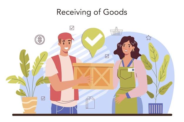 Unternehmer für kommerzielle aktivitäten, die produkte von lieferanten erhalten Premium Vektoren