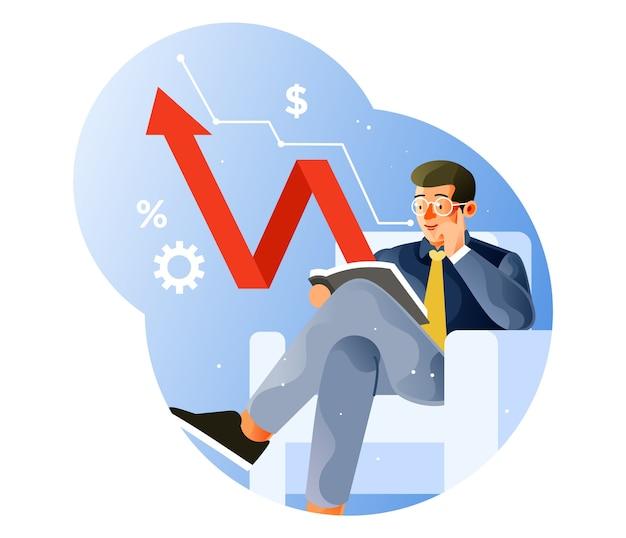 Unternehmer lesen die daten, um den gewinn zu steigern