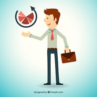 Unternehmer mit einem diagramm