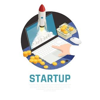 Unternehmer mit geld während des startprojekts auf isometrischer runder zusammensetzung des laptops