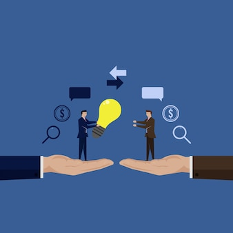 Unternehmer teilen die idee mit einem anderen