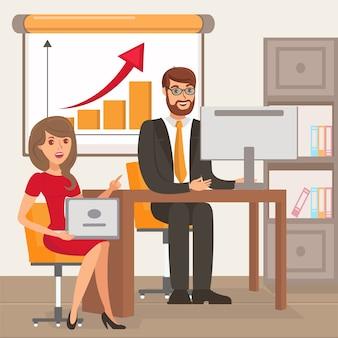 Unternehmer und persönlicher assistent illustration