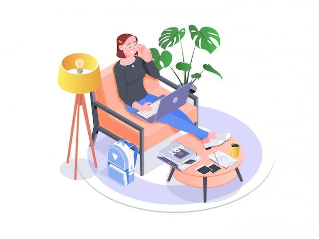 Unternehmerfrau, die mit einem laptop arbeitet
