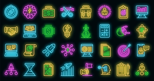 Unternehmerikonen eingestellt. umrisse von unternehmervektorsymbolen neonfarbe auf schwarz