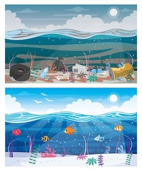 Unterschied zwischen sauberem und schmutzigem meer