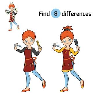 Unterschiede finden, bildungsspiel für kinder, friseur