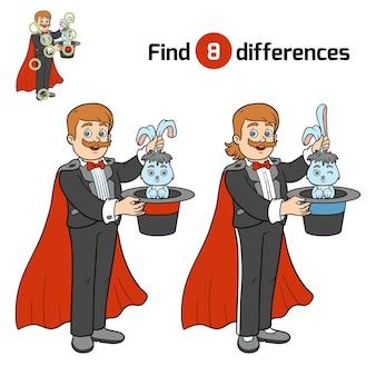 Unterschiede finden, bildungsspiel für kinder, illusionist