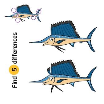 Unterschiede finden, lernspiel für kinder, sailfish
