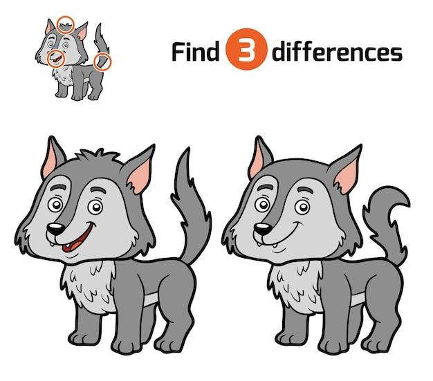 Unterschiede finden, lernspiel für kinder, wolf