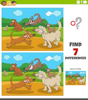 Unterschiede lernspiel für kinder mit glücklichen hunden gruppe