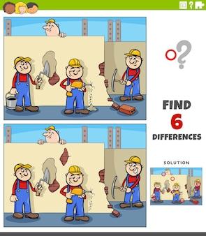 Unterschiede lernspiel mit cartoon-arbeitern
