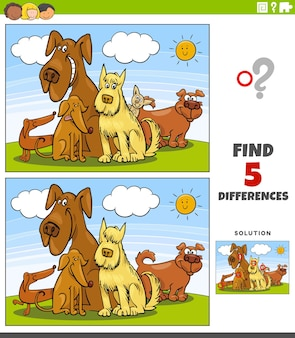 Unterschiede lernspiel mit cartoon hunde gruppe