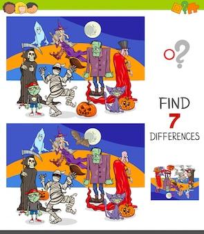 Unterschiede lernspiel mit halloween-figuren
