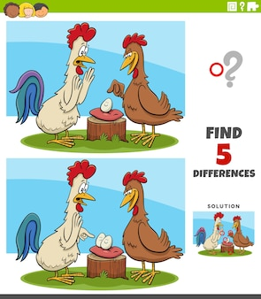 Unterschiede pädagogische aufgabe für kinder mit hahn und henne