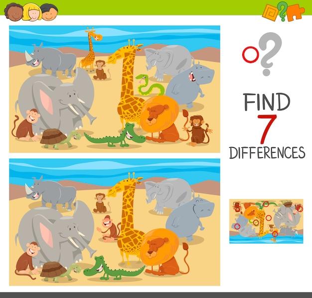 Unterschiede puzzle mit tiercharakteren