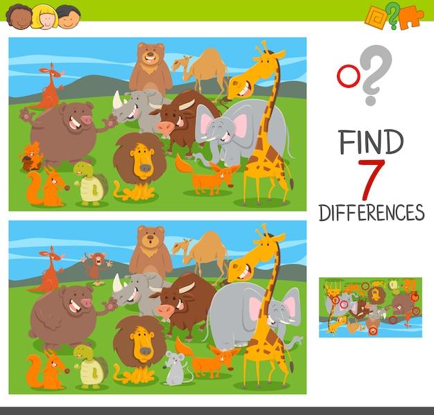 Unterschiede puzzle-spiel mit tierfiguren