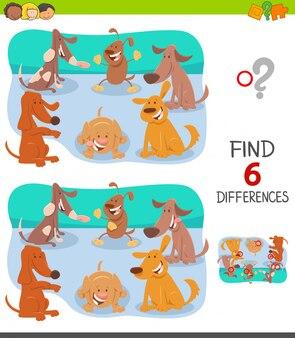Unterschiede spiel für kinder mit glücklichen hunden