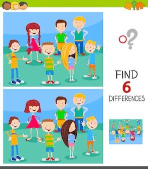 Unterschiede spiel für kinder mit lustigen charakteren