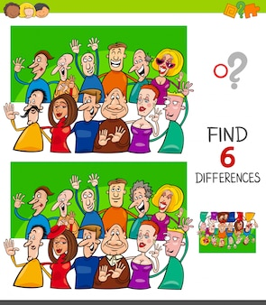 Unterschiede spiel für kinder mit lustigen menschen