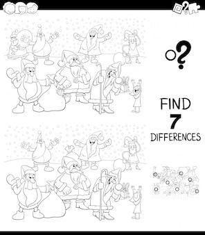 Unterschiede spiel mit dem weihnachtsmann-farbbuch