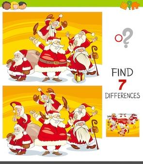 Unterschiede spiel mit der weihnachtsmann-gruppe
