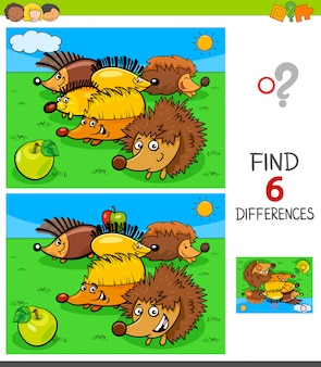 Unterschiede spiel mit igel tierfiguren