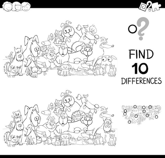 Unterschiede spiel mit katzen und hunden farbbuch