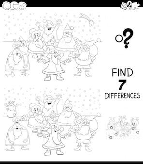 Unterschiede spiel mit santa malbuch