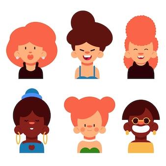 Unterschiedlich aussehende menschen avatar gesetzt