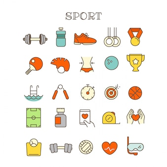 Unterschiedliche dünne linie farbikonen-vektorsatz des sports