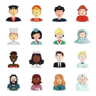 Unterschiedliche illustration der leute. gesetzte ikone der berufkarikatur lokalisierte gesetzte ikonenleute der karikatur unterschiedlich.