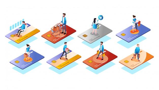 Unterschiedliche kreditkarteart mit leuten oder kunde auf ihr, benutzen die karte für isometrischen vektor der illustration 3d des verschiedenen bedarfs